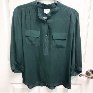 PARKER Green 3/4 Sleeve Silk Button Blouse Sz XS